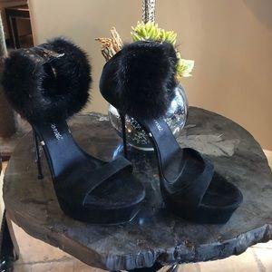 Gianmarco Lorenzi Black Mink & Suede Spike Heels